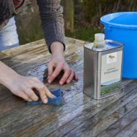 Linseed oil soap cleaning wood